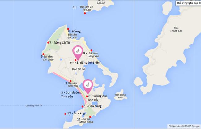 Sơ đồ các điểm đến du lịch trên đảo Cô Tô